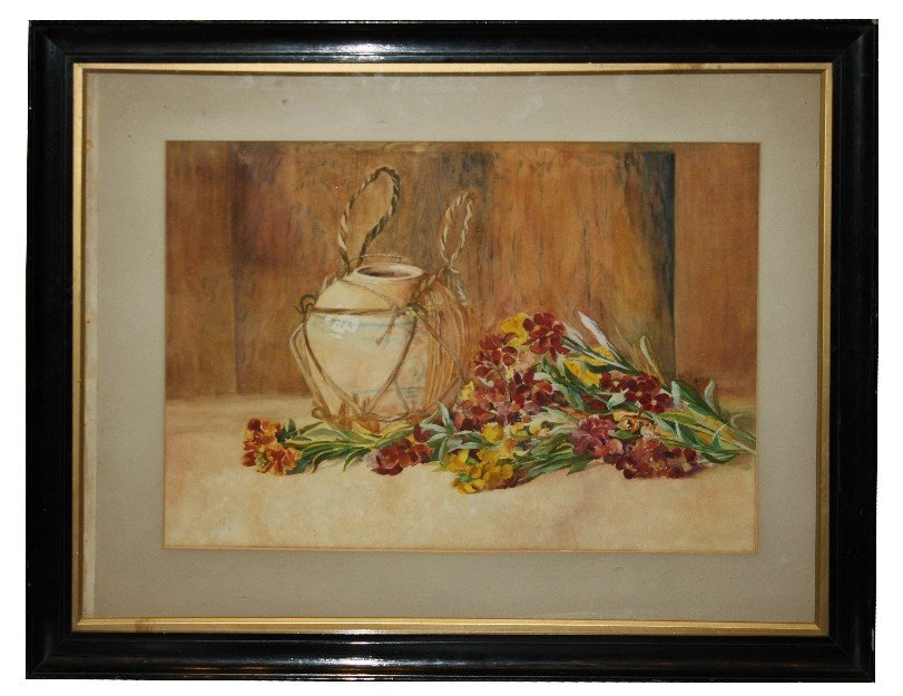 10: English watercolor on paper-stillife with flowers &