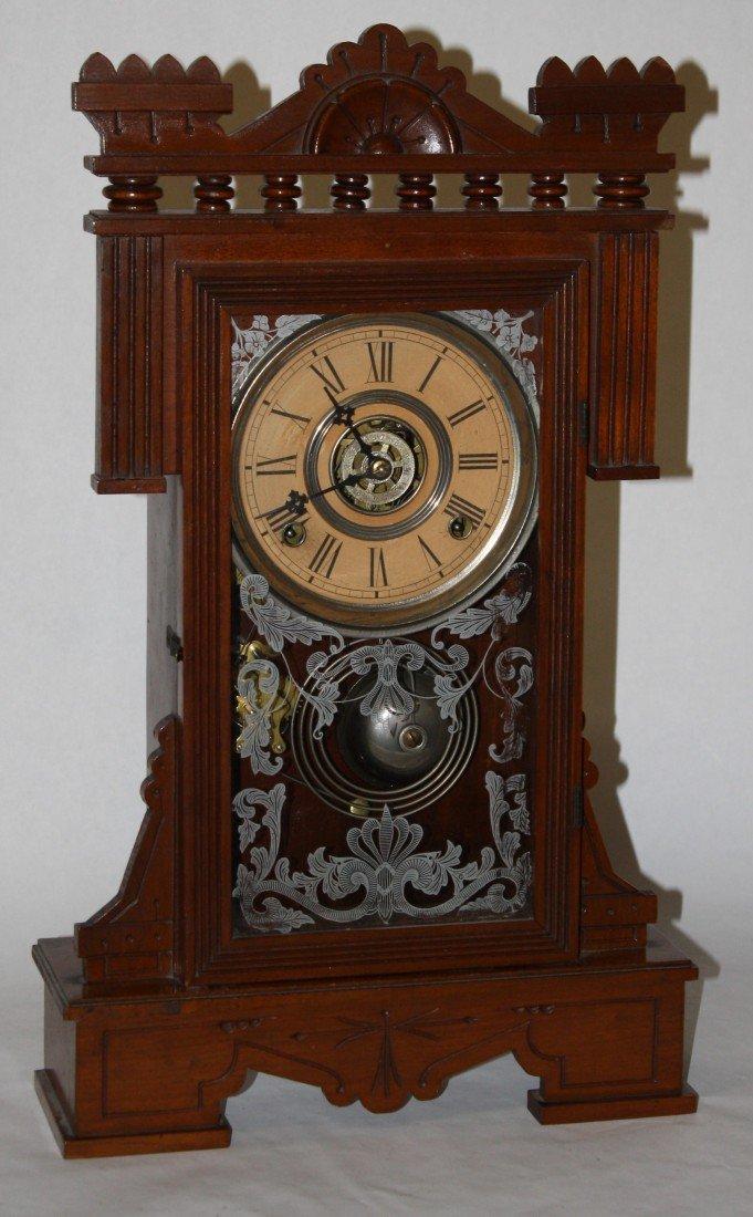 12: Wm. L. Gilbert gingerbread clock in oak 8day strike