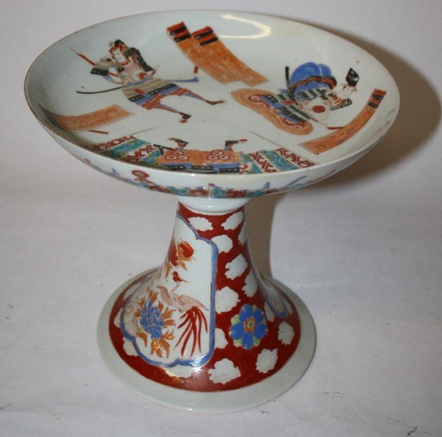 13: Hand painted Japanese porcelain footed compote