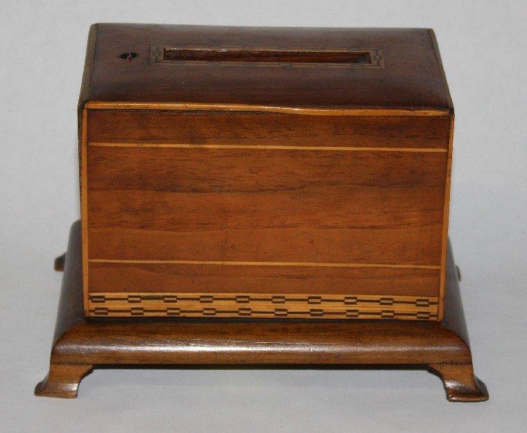 16: Edwardian inlaid cigarette dispenser in walnut