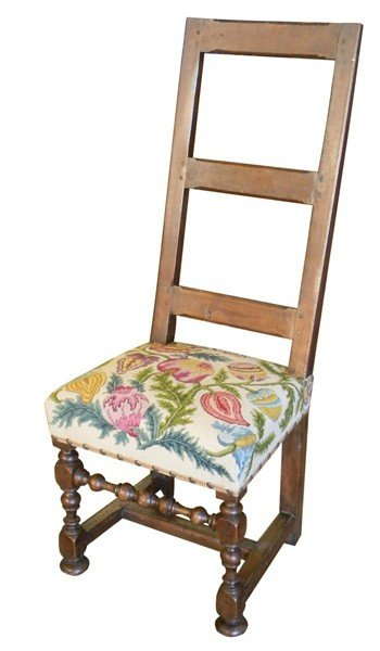 24: Rustic French ladder back chair in walnut, 19th