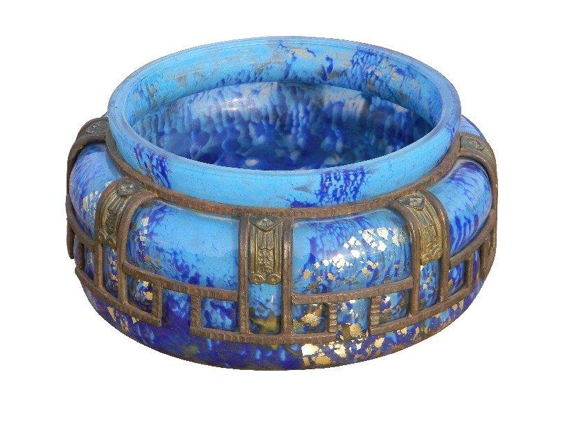 102: Majorelle and Daum Nancy artglass and iron vase