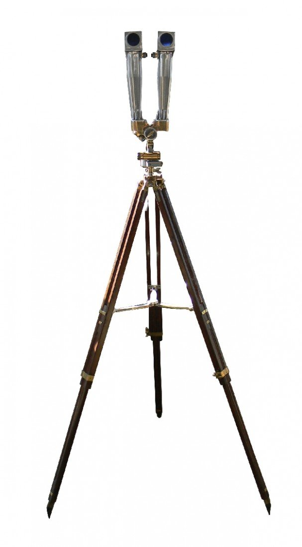 111: Rare French WWII era periscope on wooden tripod