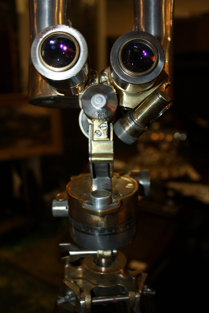 111: Rare French WWII era periscope on wooden tripod - 9