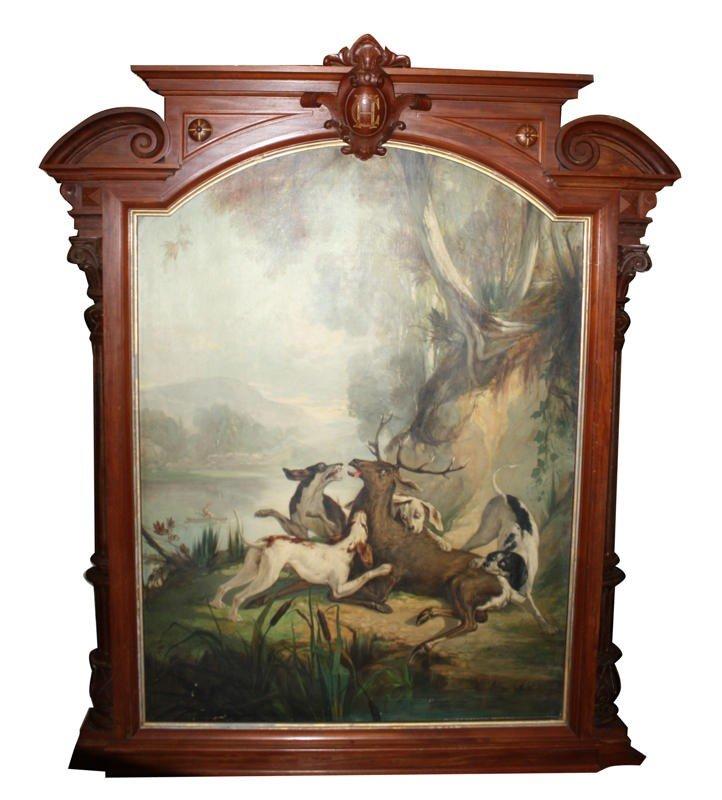 80A: American Renaissance Revival framed hunt scene
