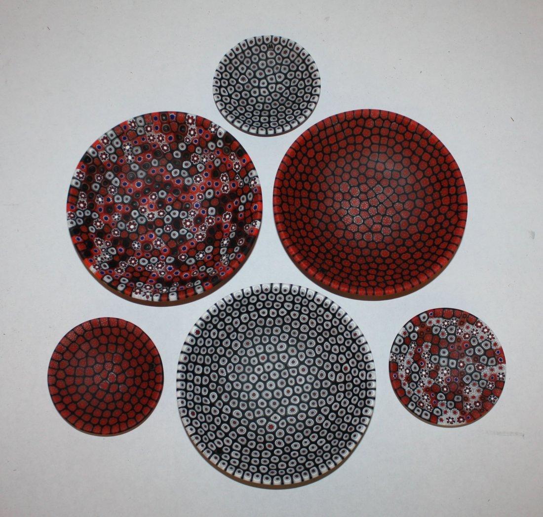3: Lot of 6 Murano millefiori small dishes with origina