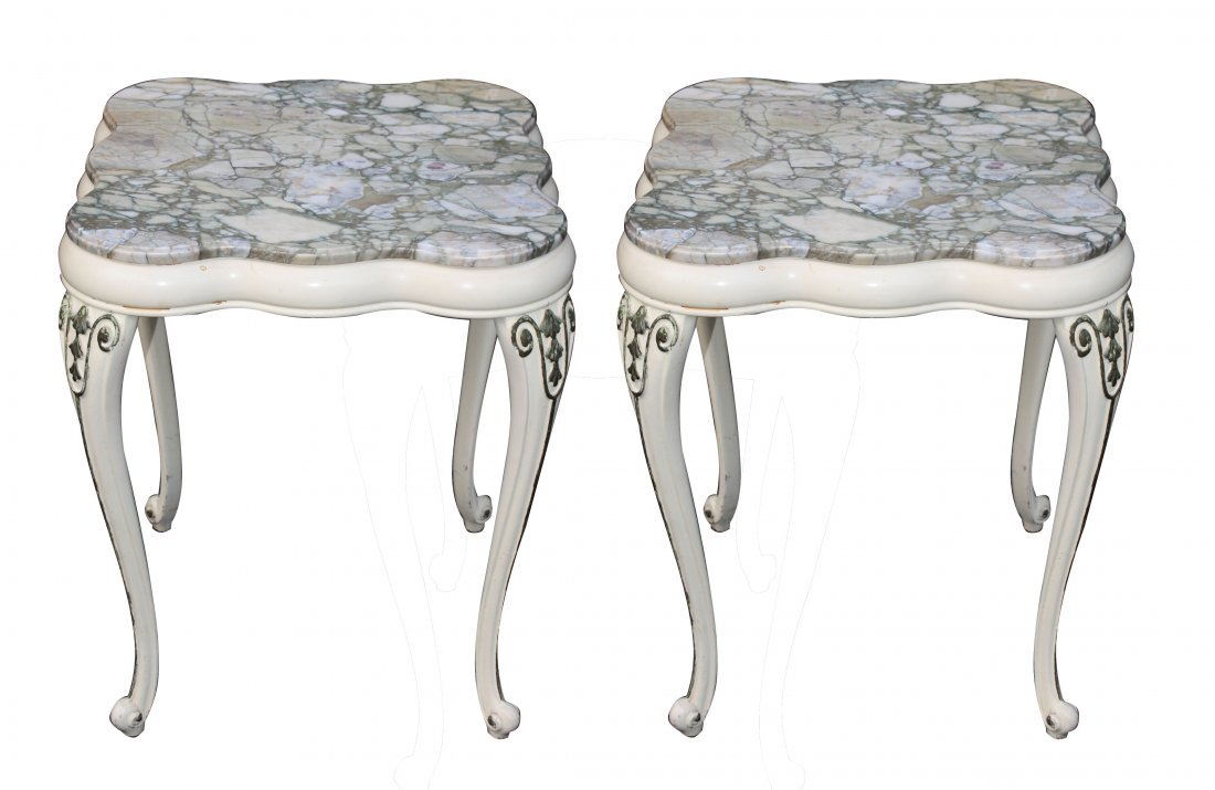 5: Pair of painted Italian side tables with fleur de pe