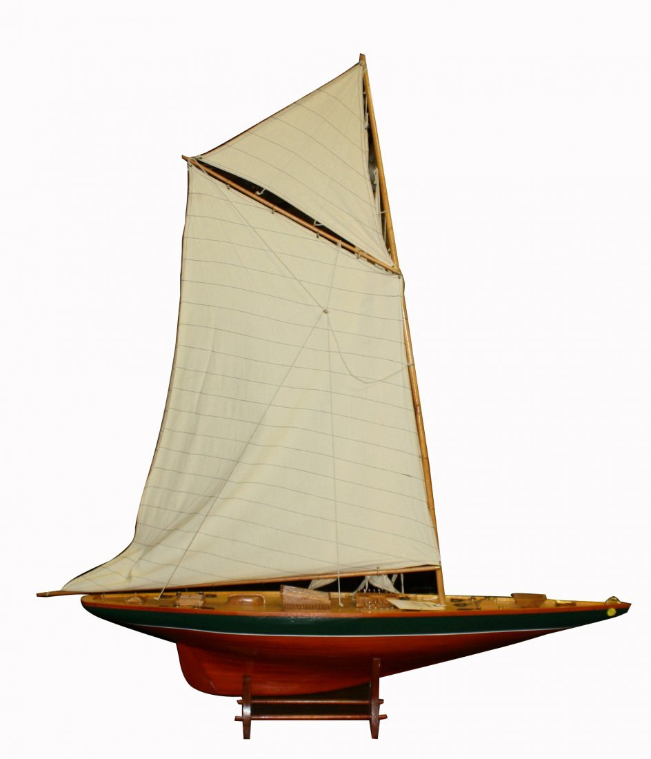 9: Hand made wooden model pond yacht with full linen