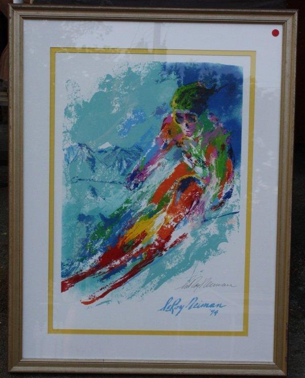 10: Framed Leroy Neiman hand signed print of Skier
