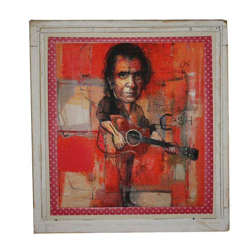 13: Signed Patterson Barnes artist proof of Johnny Cash