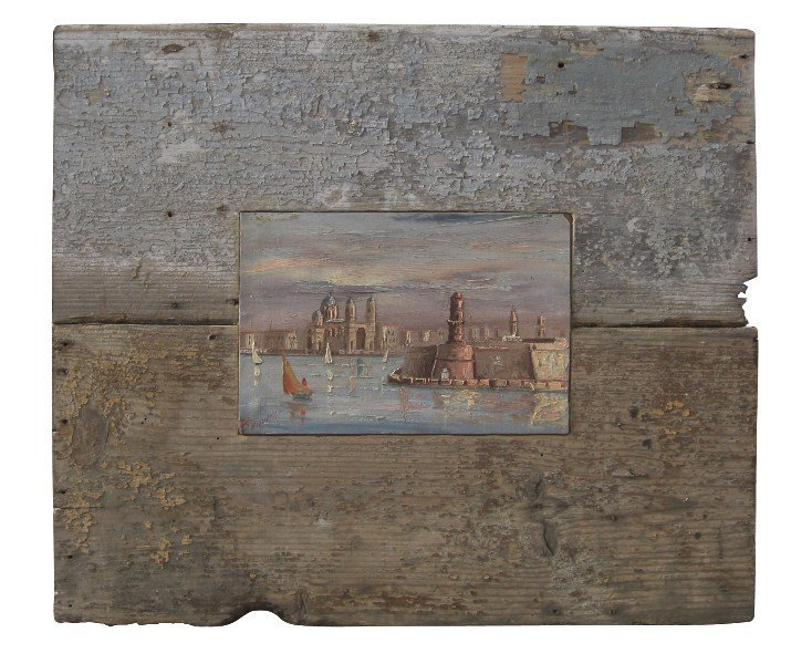 16: Early 20th c. painting on artist board in custom