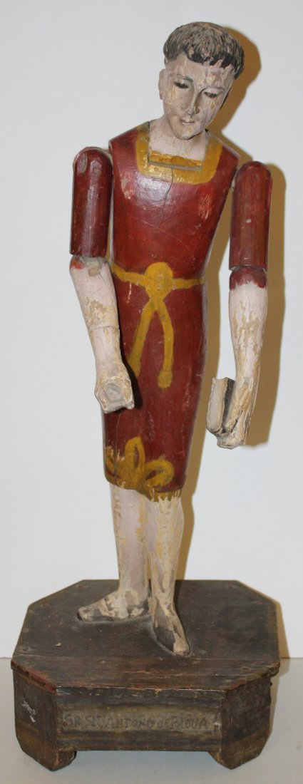 17: St Anthony articulated carved, painted wood figure