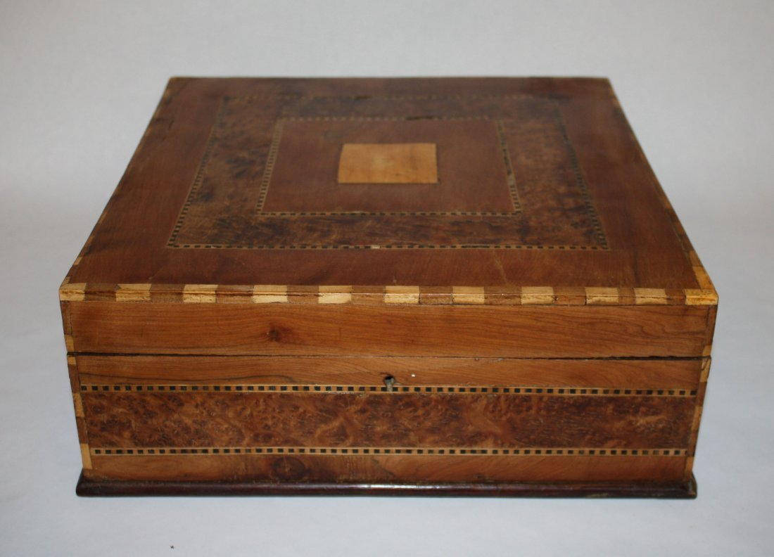 20: French inlaid box with parquetry top. Walnut with