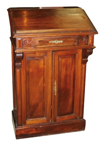 56: French mahogany lecturn/podium/maitre d stand