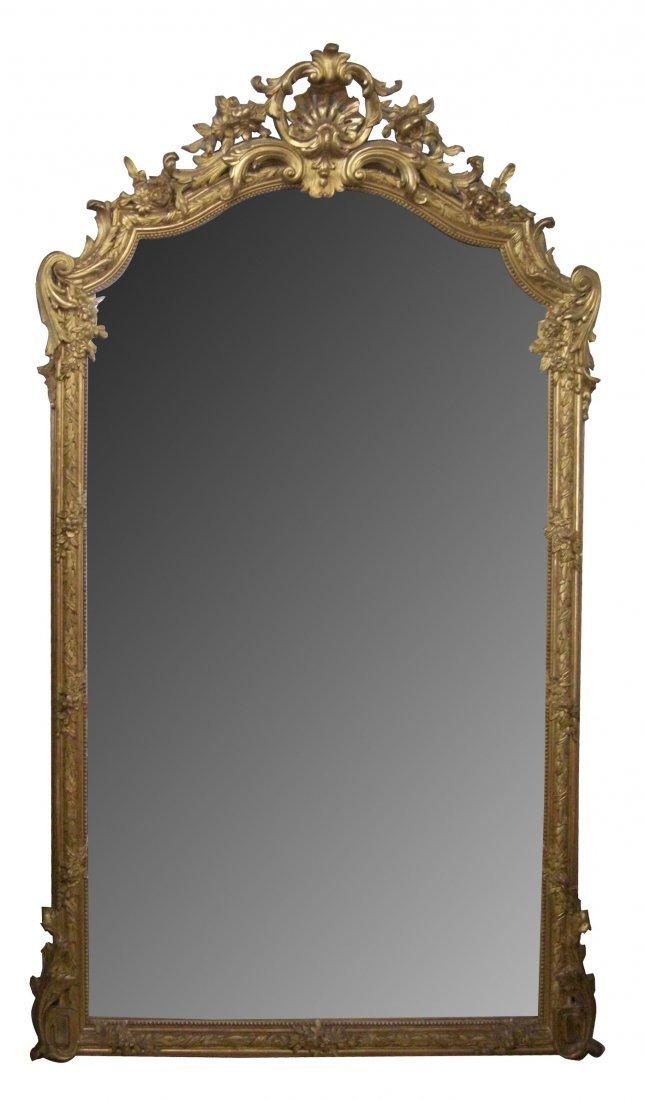 104: French grand scale Napoleon III gold leaf mirror w
