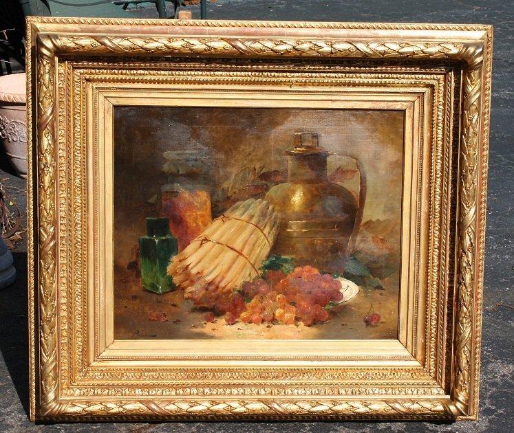 110: Oil on canvas-stilllife with asparagus, grapes & w