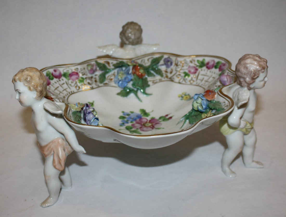 1: Dresden porcelain compote with cherub supports.