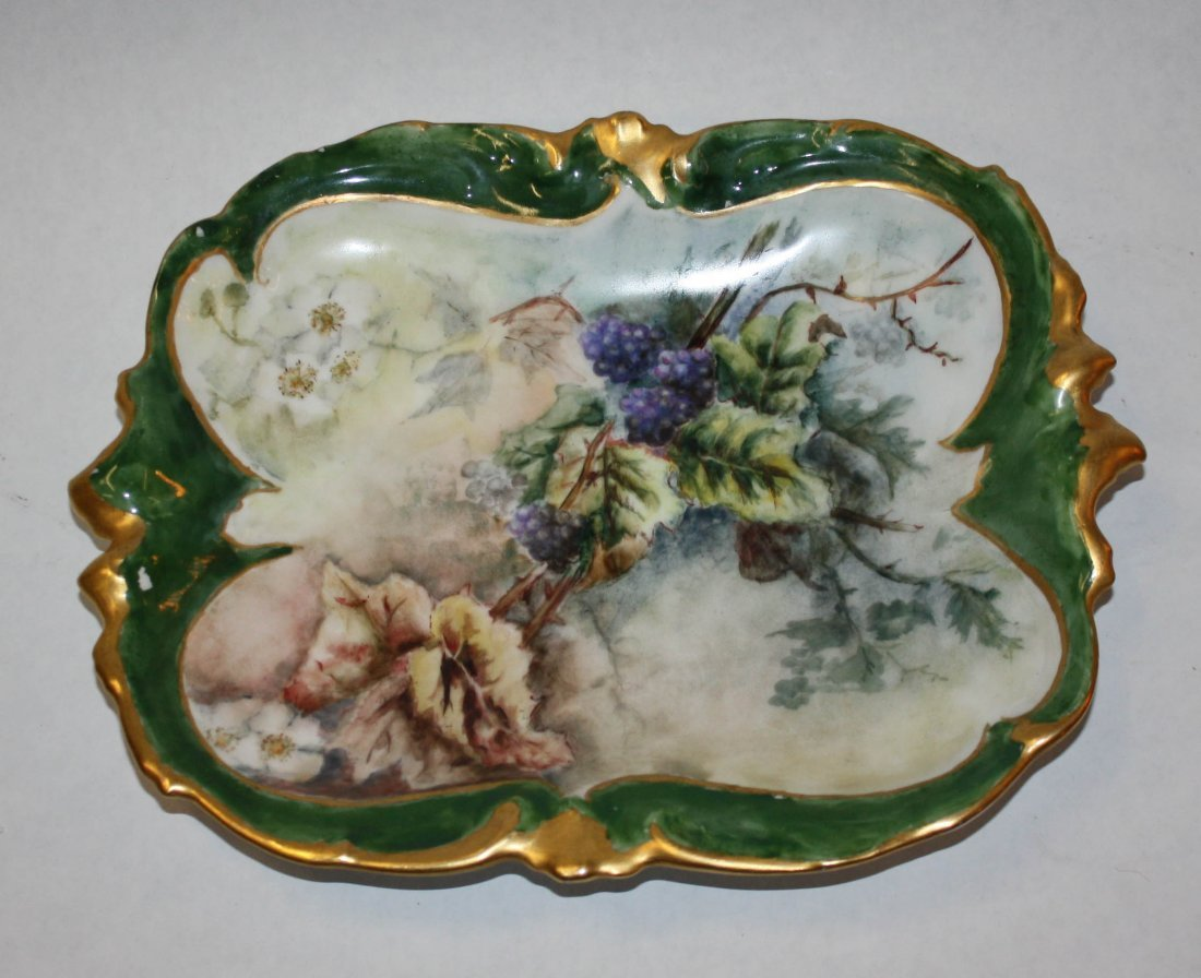 2: French Limoges hand painted shaped plate with