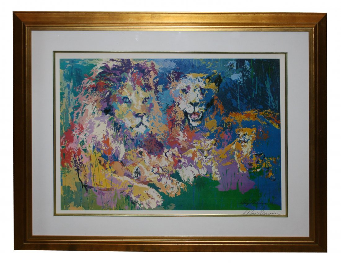 4: Leroy Neiman signed print of lion & lioness