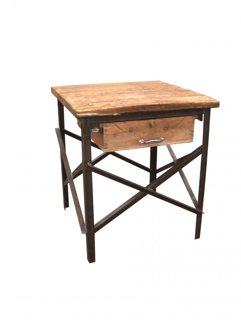 7: Iron & wood industrial side table/kitchen island
