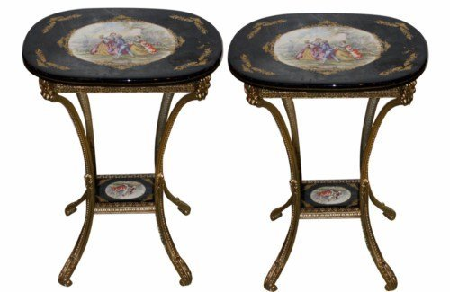 13: Pair of porcelain & brass 2-tier side tables
