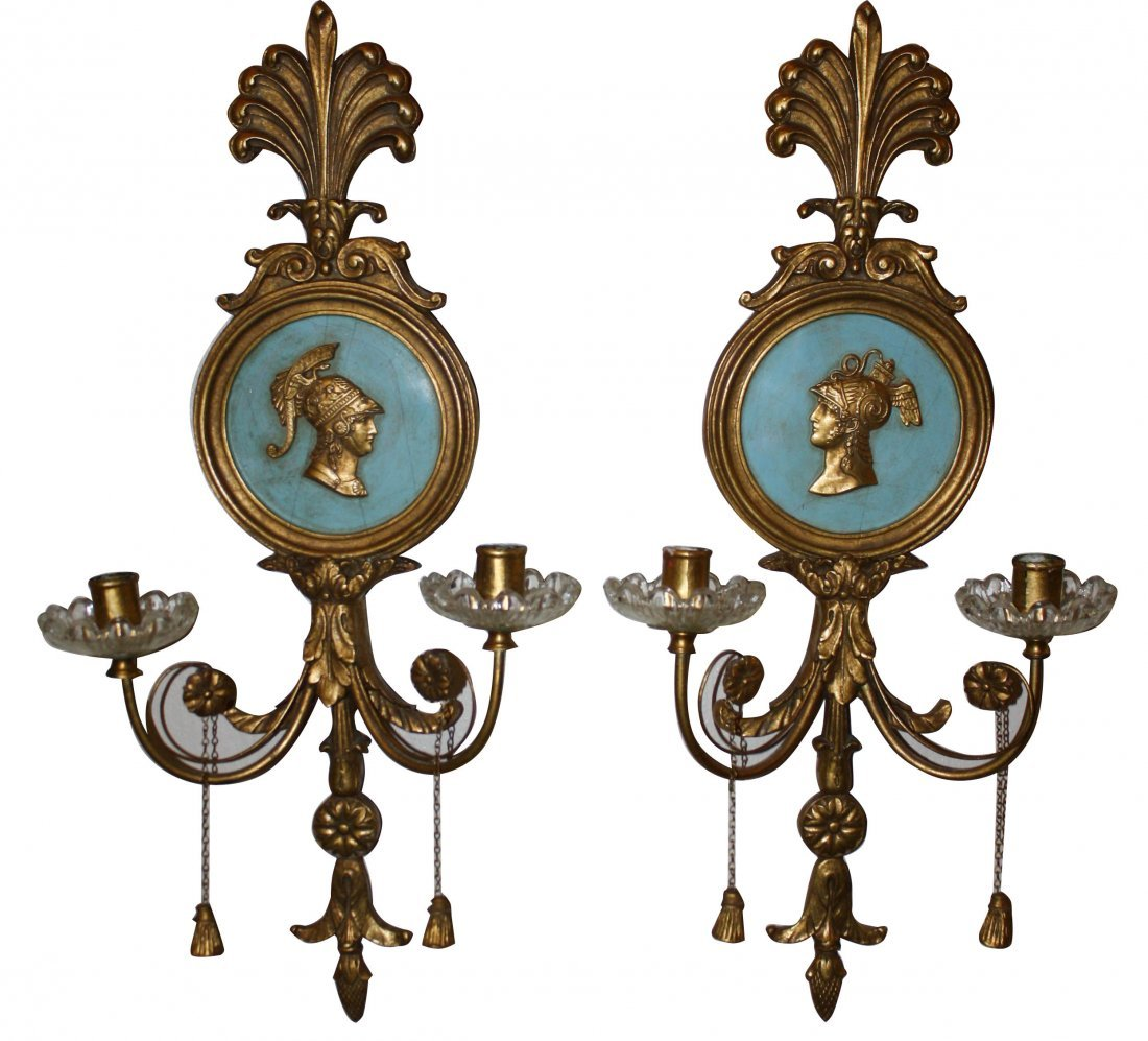 14: Pair of gold wall candle sconces with Roman portrai
