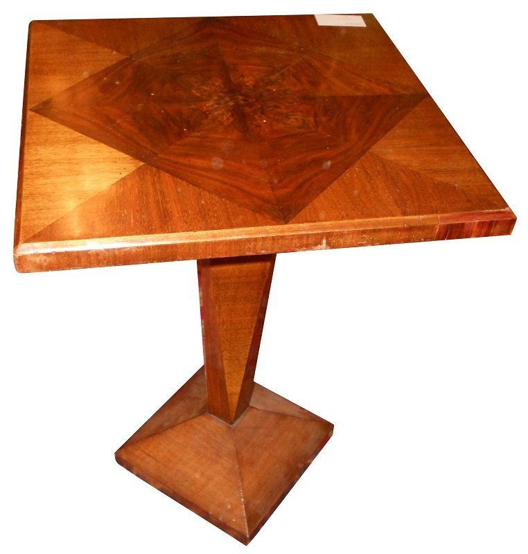 17: French Art Deco square top pedestal table