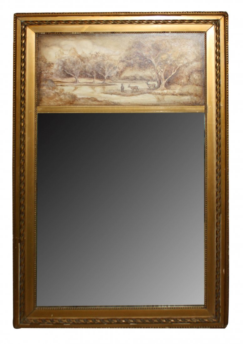 18: Trumeau mirror  with painting signed Diane Sewell