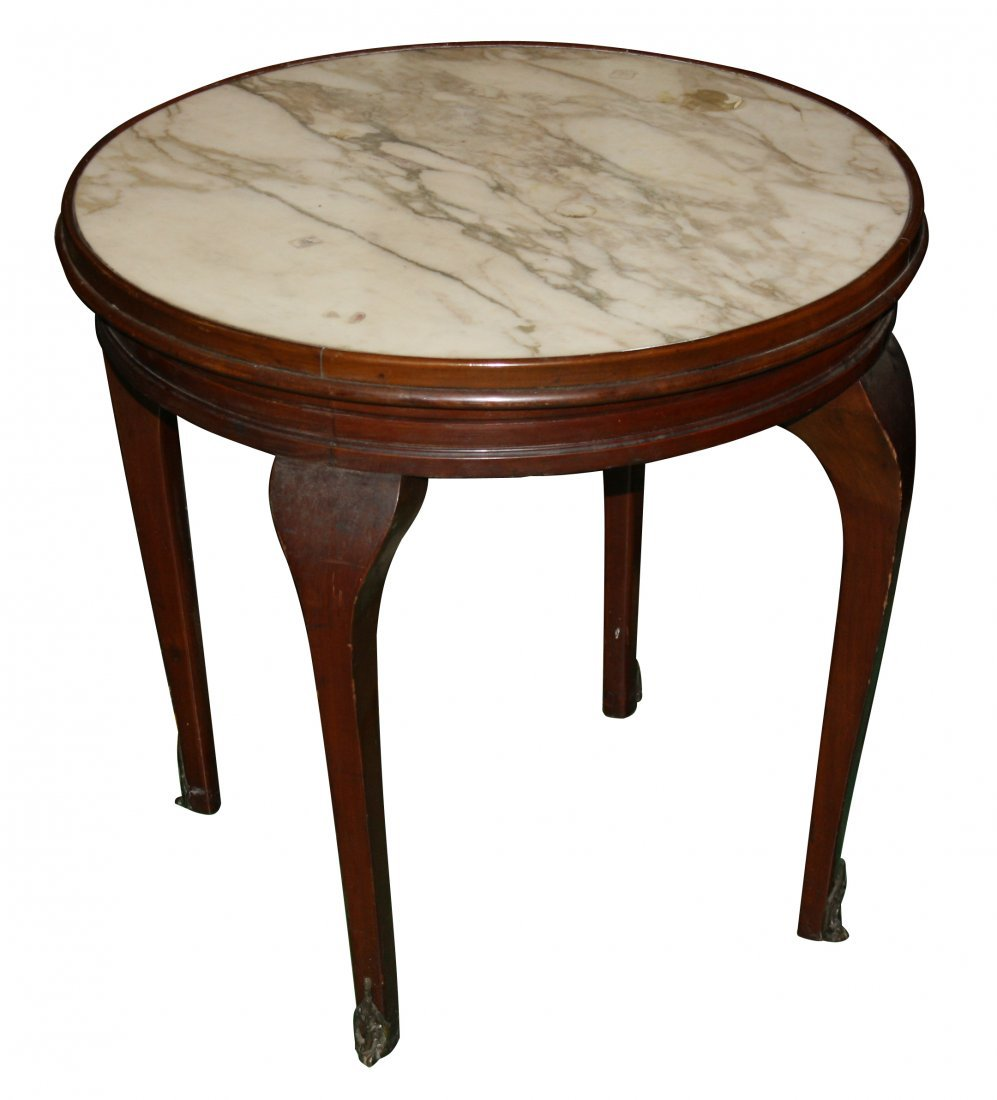 19: French Louis XVI gueridon with white marble top