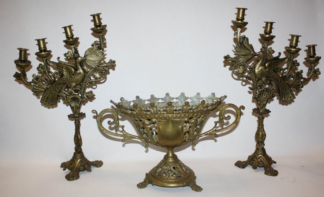 20: Bronze 3pc candleabra and urn decorated with birds