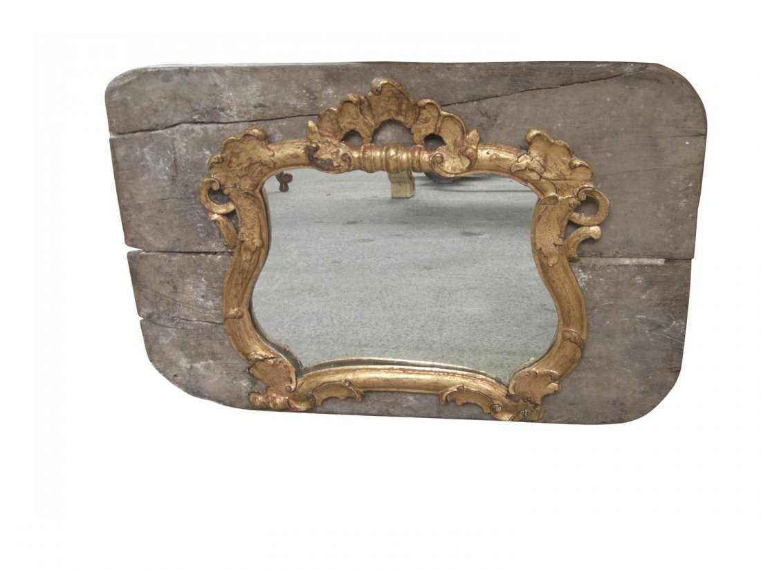 54: French 19th c. Louis XV gold leaf mirror on panel