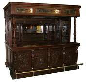 169 Carved mahogany canopy pub bar with lions