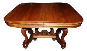 267: French Louis XV walnut dining table with shell