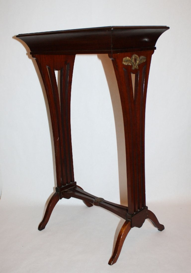 1: Louis XVI style mahogany side table with wreath