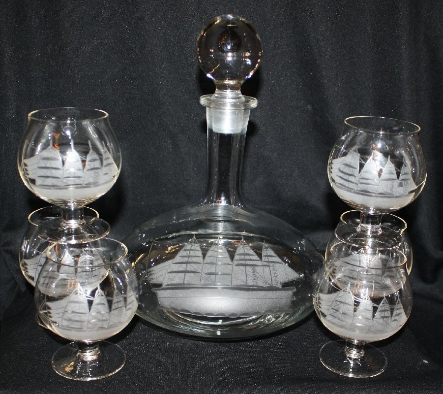 2: Crystal decanter & 6 glasses with etched sailboats