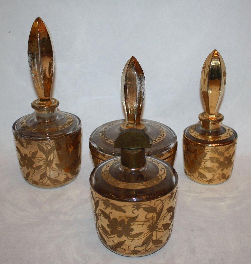 4: Mid-century 4pc vanity set with gold decoration