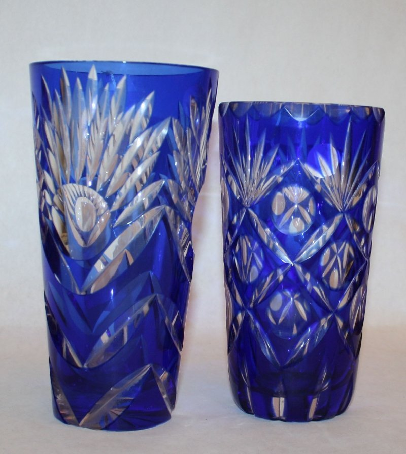 8: Lot of 2 cut crystal cobalt to clear vases