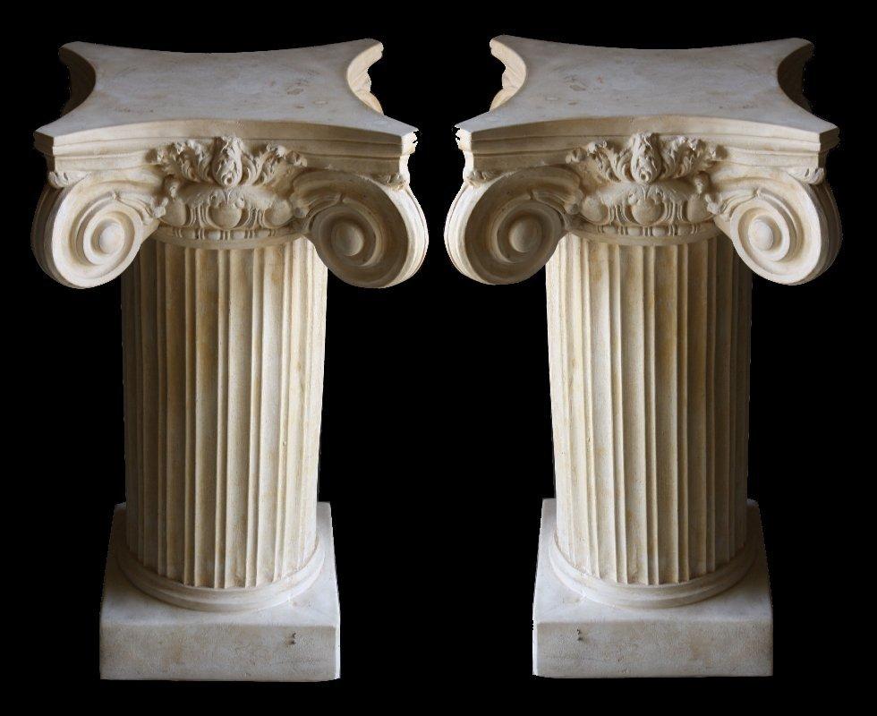 9: Pair of cast Ionic capped column pedestals
