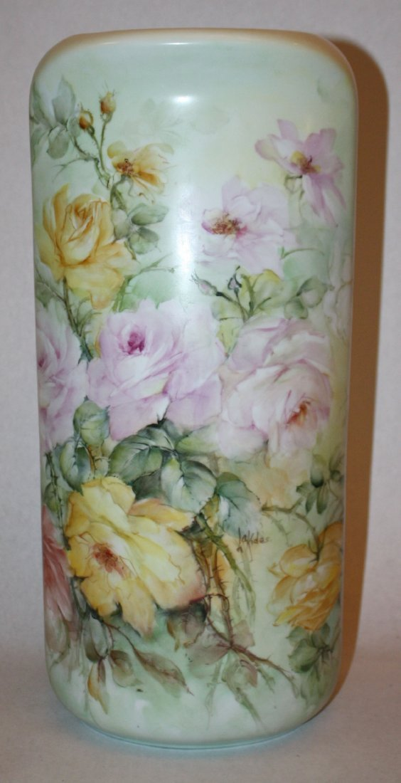 10: Handpainted floral vase signed Amy M. Lakides