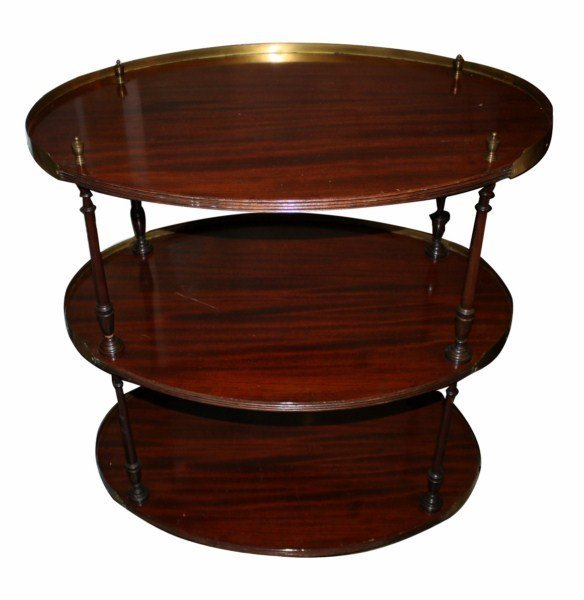 11: 3 tier mahogany oval tea cart with brass accents