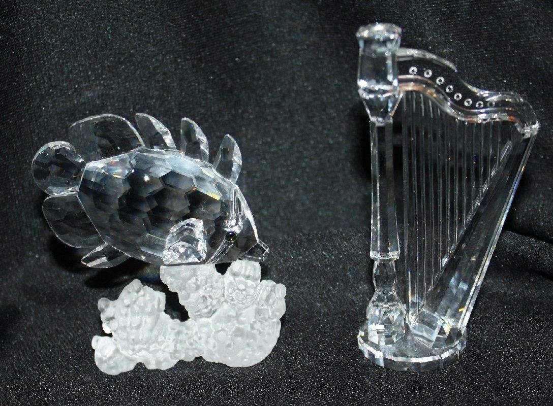 11A: Lot of 2 Swarovki crystal-Harp & Angel fish