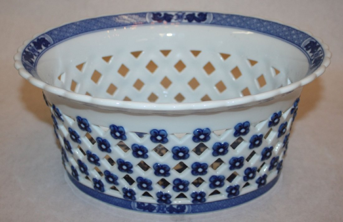 11B: Mottahedeh Blue Canton oval lattice work bowl