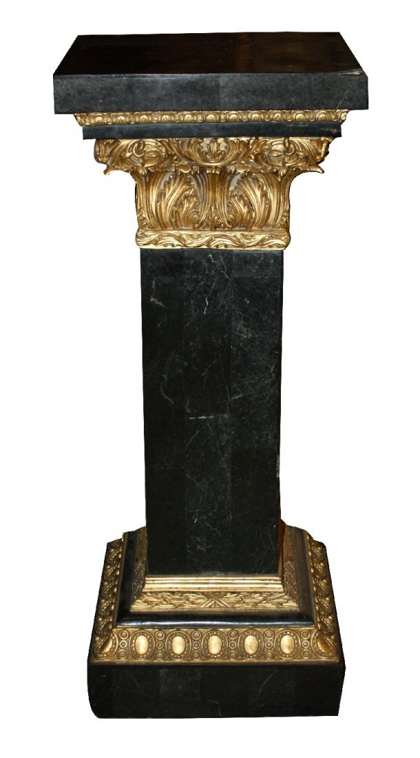 13: Marble clad pedestal with gilt detail
