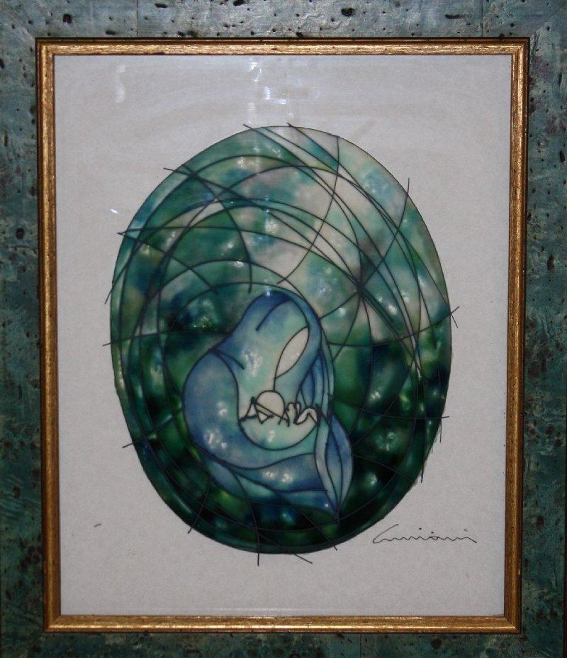 14: Massimo Cruciani painting on glass-Madonna con bamb
