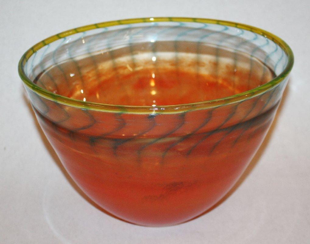 15: Kosta Boda orange & blue bowl