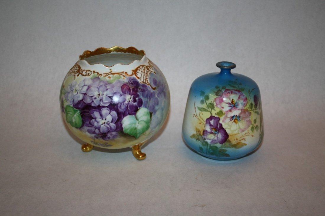 1A: Lot of 2 Austrian hand painted porcelain vases