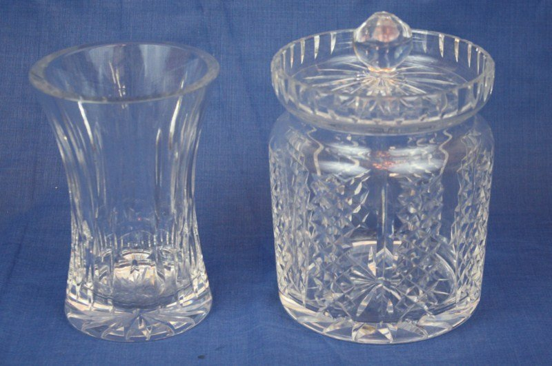 """1: Lot of 2 Waterford crystal pieces:  6""""h vase & 7 1/2"""
