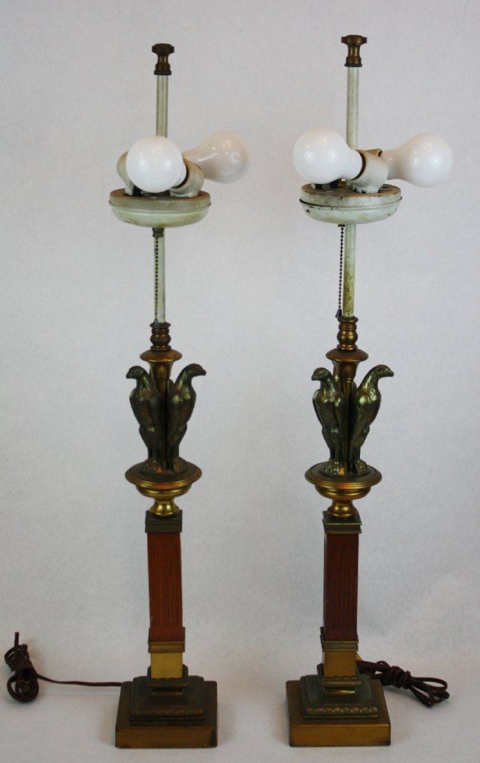13: Pair of eagle table lamps on wood & brass column