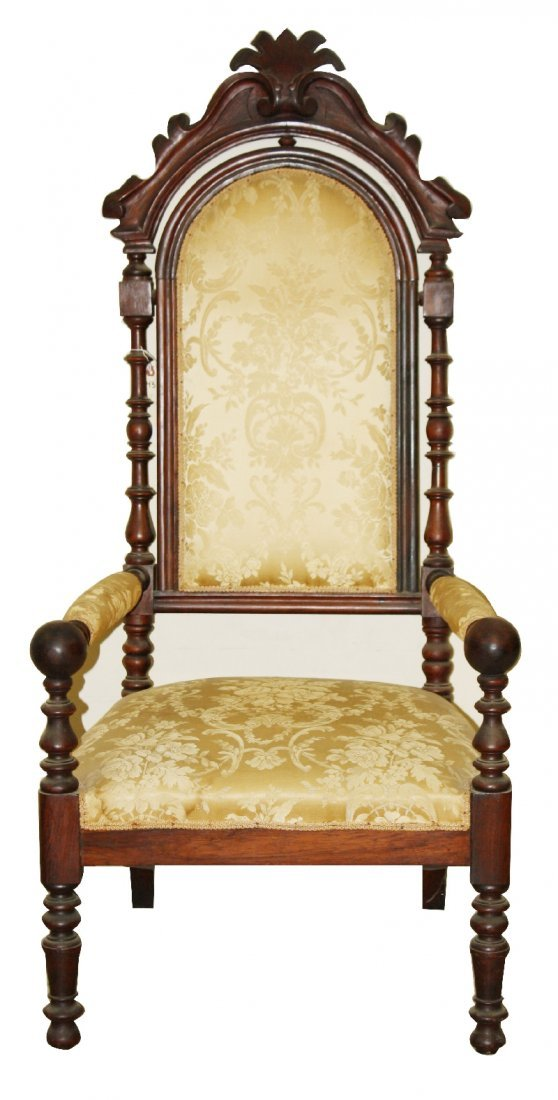 14: 19th century throne chair in carved walnut
