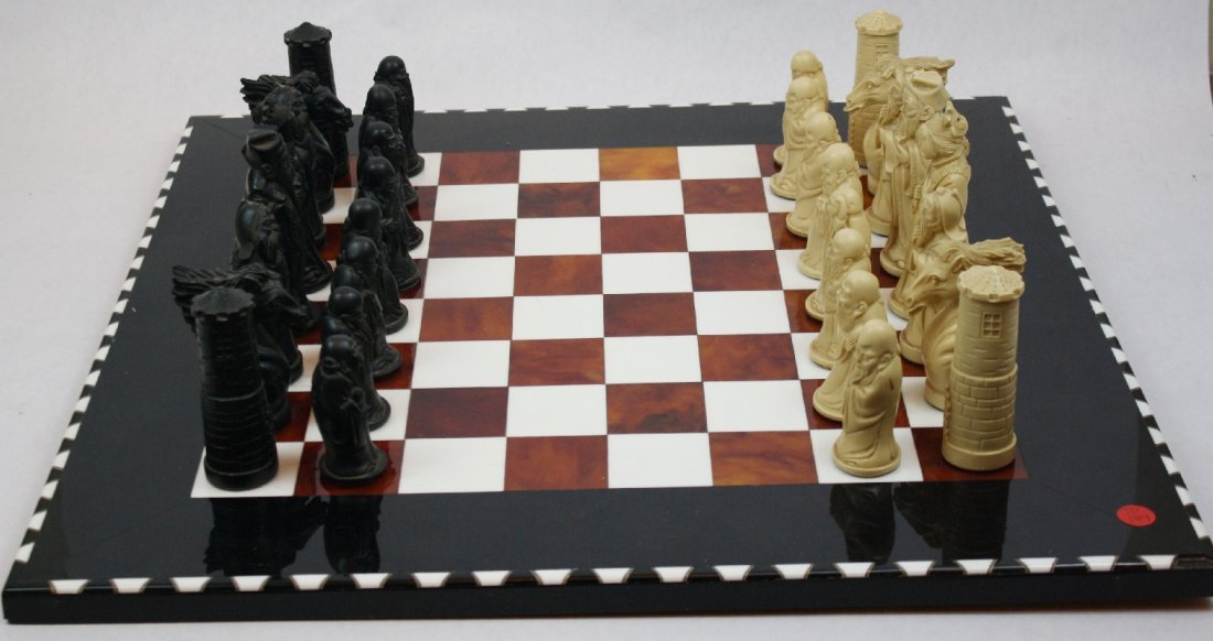 17: Oriental chess pieces on lacquered chess board